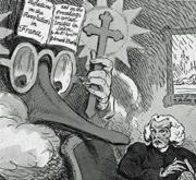 Der Radikale Richard Price wird mitternächtlich durch die visionäre Erscheinung des Konservativen Edmund Burke aufgeschreckt (Detail einer Karikatur 1790)